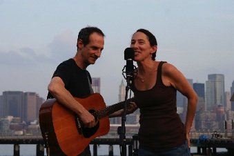 Acoustic duo Cucumbers, by the Hudson River in Hoboken, 2011. (photo by Robert Langdon)