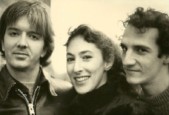 1982 Cucumbers publicity photo with bass player Nels Johnson (l) and Jon Fried (r)